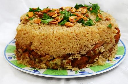 Makloubeh Upside Down Rice And Lamb Casserole