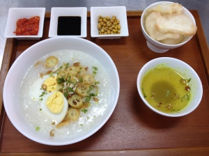Burbur Ayam. Rice porridge with condiments