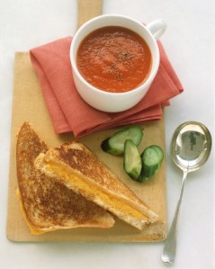 Grilled cheese toast and tomato soup