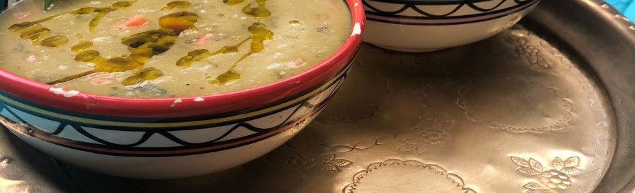 Spiced Split Pea Soup with Garlic PitaCroutons